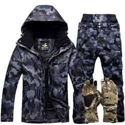 Зимний теплый лыжный костюм для мужчин, ветронепроницаемый водонепроницаемый термальный зимний комплект, лыжный сноубординг, лыжные куртк...