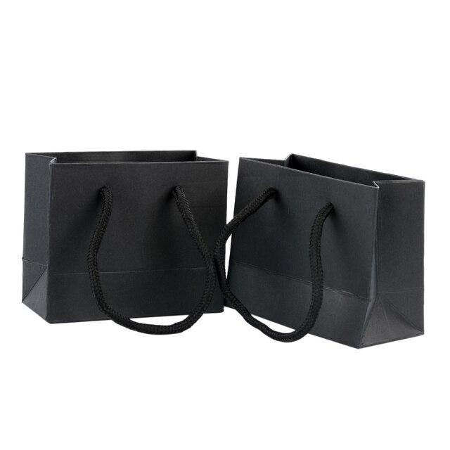 1 pièces Kraft papier poignées sacs fête mariage Festival cadeaux emballage Shopping noir petit pour noël