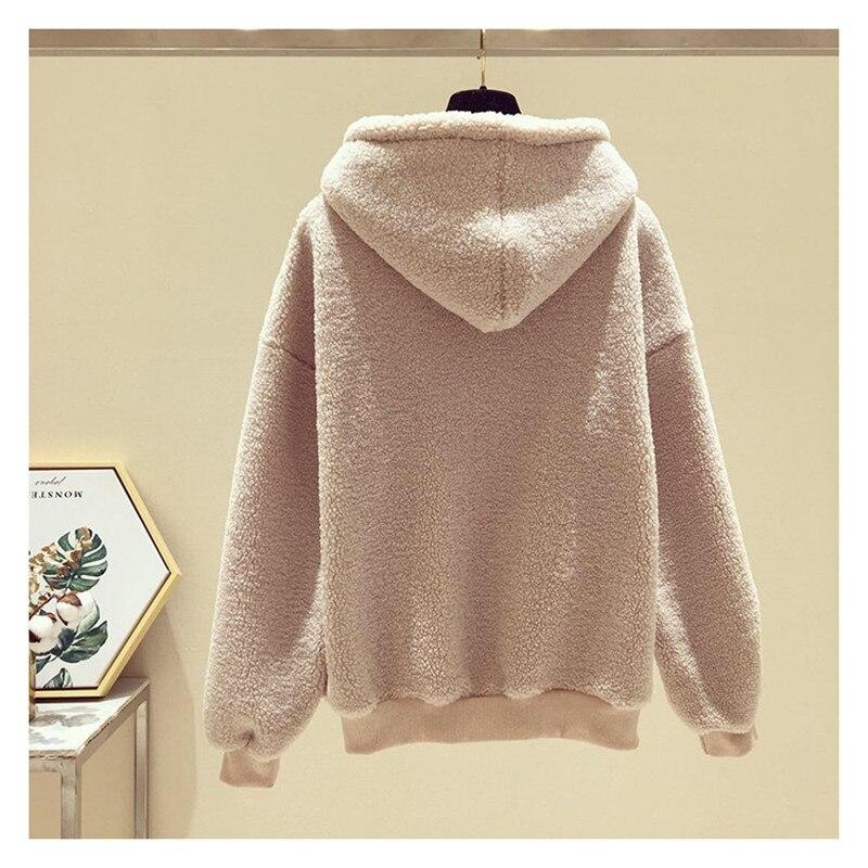 Tracksuit Women's Hoodie Pullover Lamb Female Thick Hoodies Women Winter Sweatshirt Casual Warm Oversized Hoodie Hat Sweatshirts
