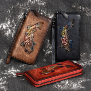 Image 5 - Genuine Leather Women Clutches Wallet Womens Cell Mobile Phone Pouch Bag Wristband Zipper Purse Golden Fish Engraved