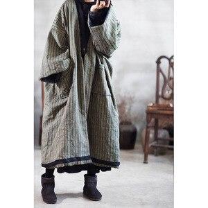 Image 3 - Parka rayé en lin pour femme, manteau Long, épais et chaud, avec poches de grande taille, hiver, style ample, YoYiKamomo