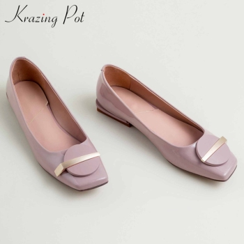 Krazing pot soft full grain leather leisure loafers shoes metal decorations slip on square toe women fashion solid pumps L12