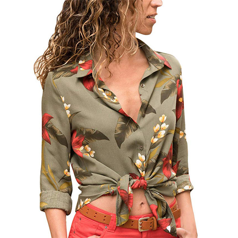 New Autumn Shirts 2019 Women Fashion Print Blouse Turn Down Long Sleeve Shirt Office Blouse Shirt Blusa Casual Suelta