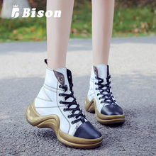 Bison Women High Top Sneakers Female Comfortable Casual Hip Hop Shoes Outdoor Non-Slip Breathable  Flats Shoe Martin Boots