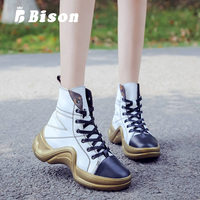 Bison Women High Top Sneakers Female Comfortable Casual Hip Hop Shoes Outdoor Non Slip Breathable Shoes Flats Shoe Martin Boots