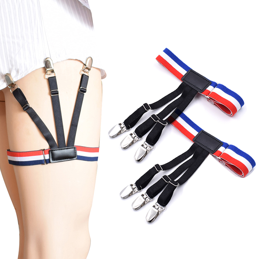 Men's Shirt Stays Holders Adjustable Elastic Shirt Garters With Non-slip Locking Clamps For Men Formal Wear Accessories