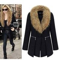 Faux Fur Collar Woolen Coat Women Plus Size 5XL Overcoat Winter Warm Elegant Lady Black Fashion Casual Girl Outerwear