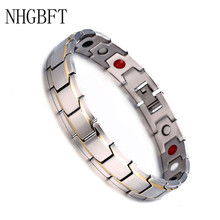 NHGBFT Classic Black Color Health Magnetic Power Bracelets Bangles For Mens Stainless Steel Charm Bracelet Dropshipping fashion classic cross bracelet bangles for men black gold color stainless steel male band bracelets jewellery gift
