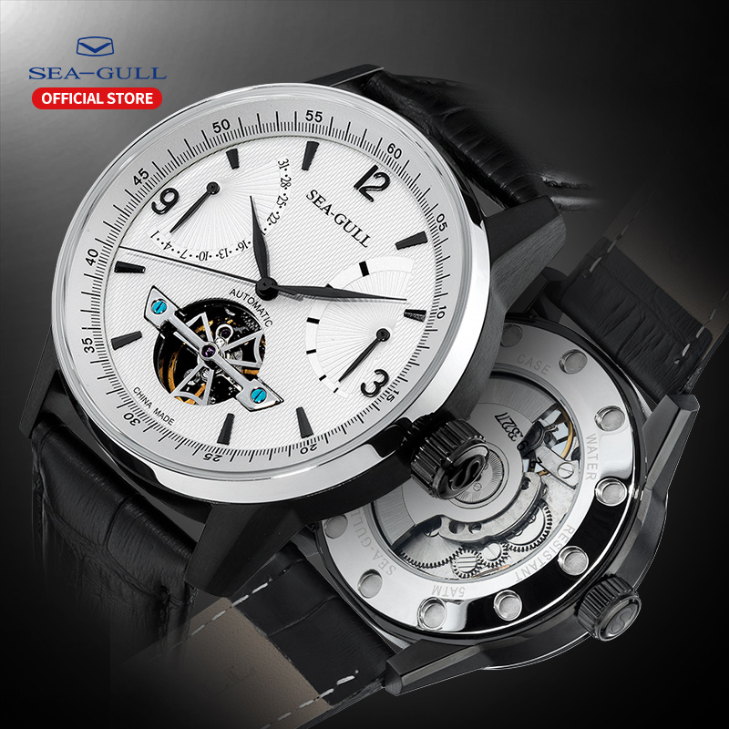 Seagull Business Watches Men's Mechanical Wristwatches Calendar 50m Waterproof Leather Valentine Gifts Male Watches 219.327 title=