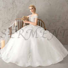 цена на Floral Print Wedding Dresses Off The Shoulder Empire Design Chiffon and Lace Up Lacework Free Custom Made Plus Size
