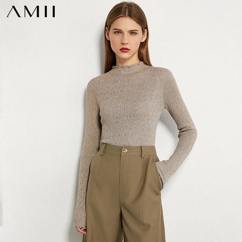 AMII minimalizm sonbahar moda kadın kazak katı pileli Slim Fit balıkçı yaka kazak kadın kazak Tops 12060102