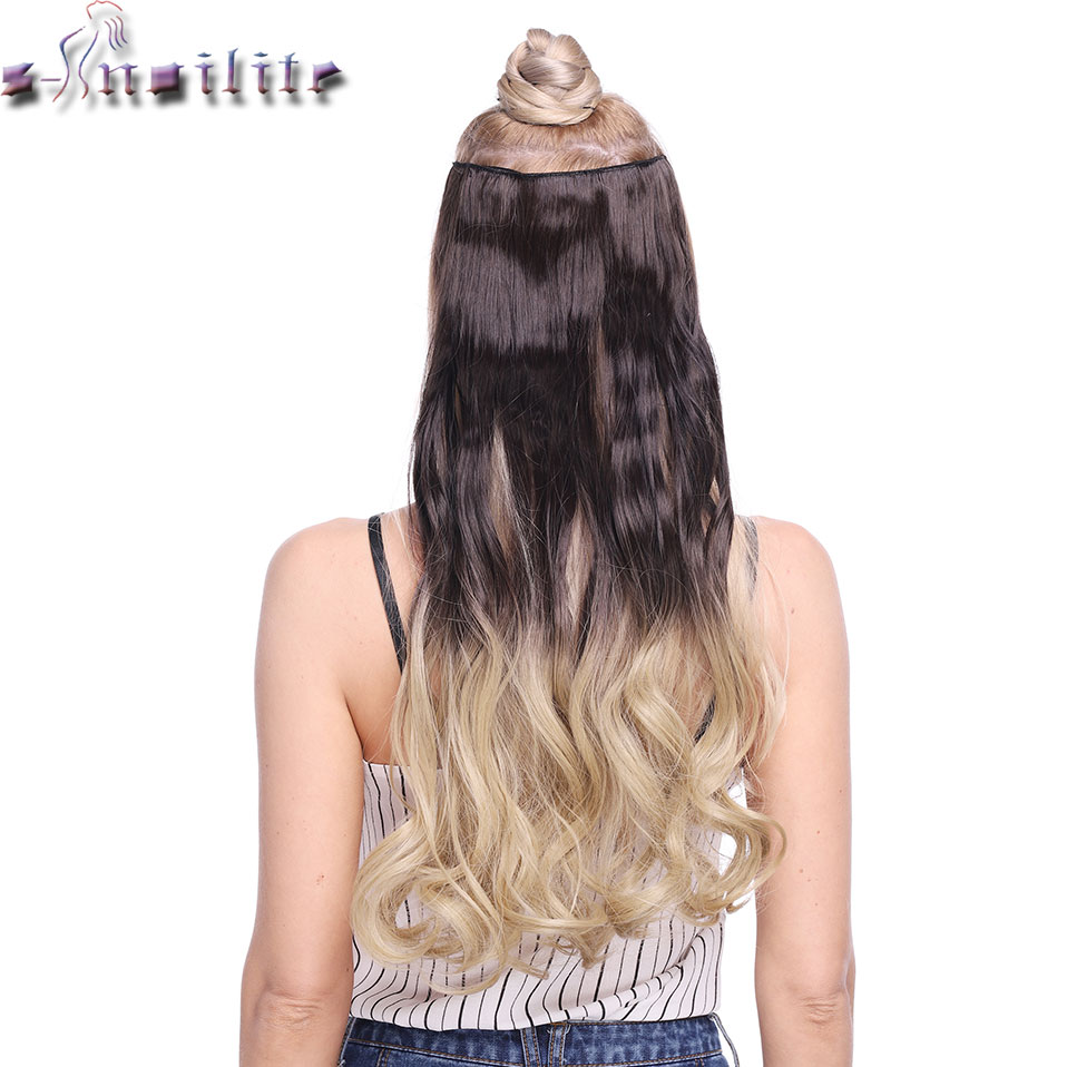 S-noilite 24inch Curly 5 Clips Mix Color Clip In One Piece Hair Extensions Ombre Color Synthetic Clip In Hairpiece For Women
