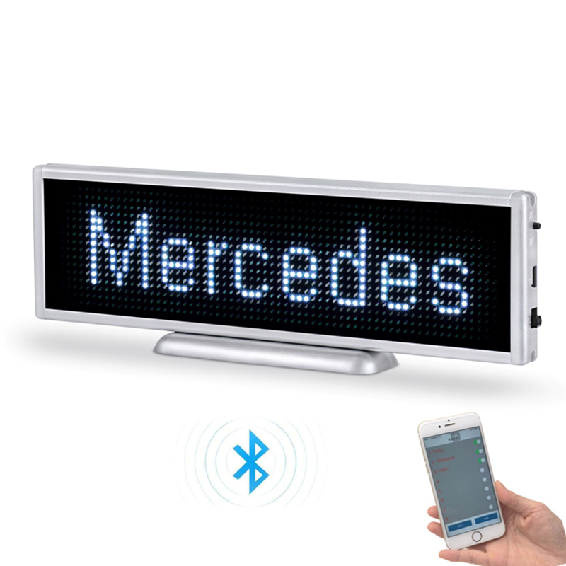 Bluetooth Rechargeable LED Display 16*64 Pixels 21cm By 6cm Size Portable Scrolling LED Screen Car Desktop Or Hanging LED Sign