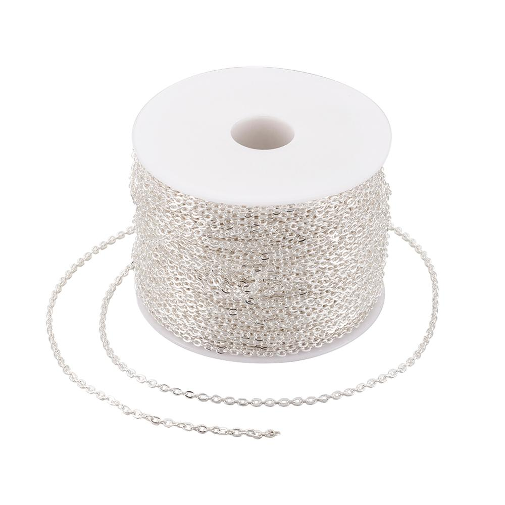 100m/roll Silver Gold Platinum Bronze Unwelded Oval Iron Cross Chains For DIY Necklace Bracelet Jewelry Making Craft Materials