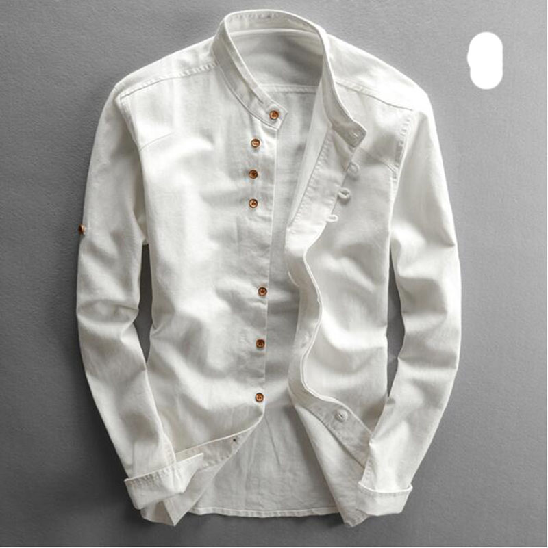 Men's Cotton Linen Shirts Long Sleeve Men Casual Slim Mandarin Collar Shirts High Quality Summer Beach Shirt plus size 6xl 2
