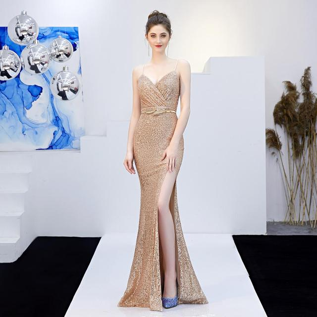 New Women Sequins Long Evening Dress Elegant V-neck Beading Evening Party Dress 5