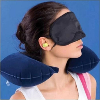 Inflatable U Shaped Car Flight Travel Nap Head Rest Cushion Neck Pillow Office Airplane Driving Nap Support Head Flight Travel image