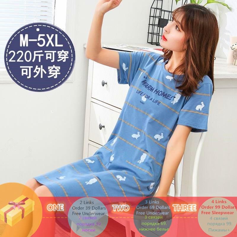 Summer Cotton M-5XL Sleepwear Women Nightdress Womens Cotton Cartoon Ladies Nightgown Sexy Nightwear Plus Size Home Sleep Dress