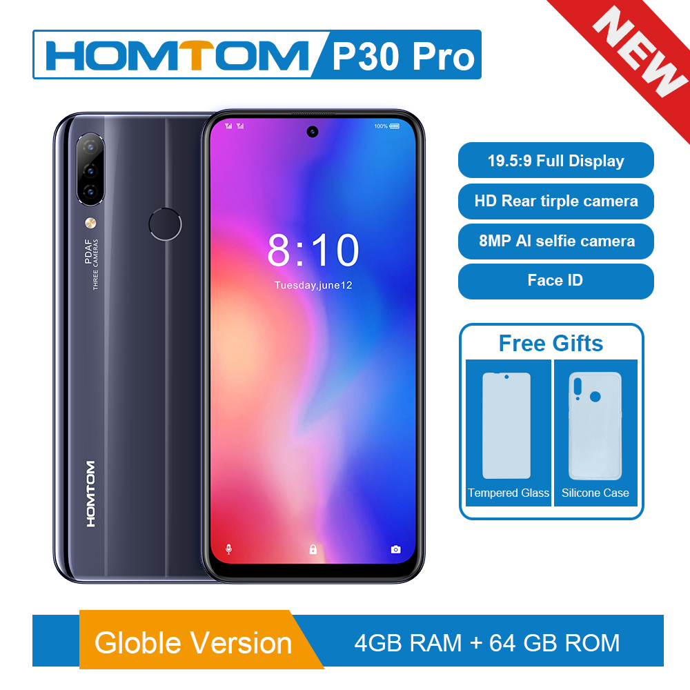 Original Version HOMTOM P30 Pro 6.41 Inch Android 9.0 Mobile Phone MT6763 Octa Core 4GB 64GB Rear 13MP Triple Cameras Smartphone