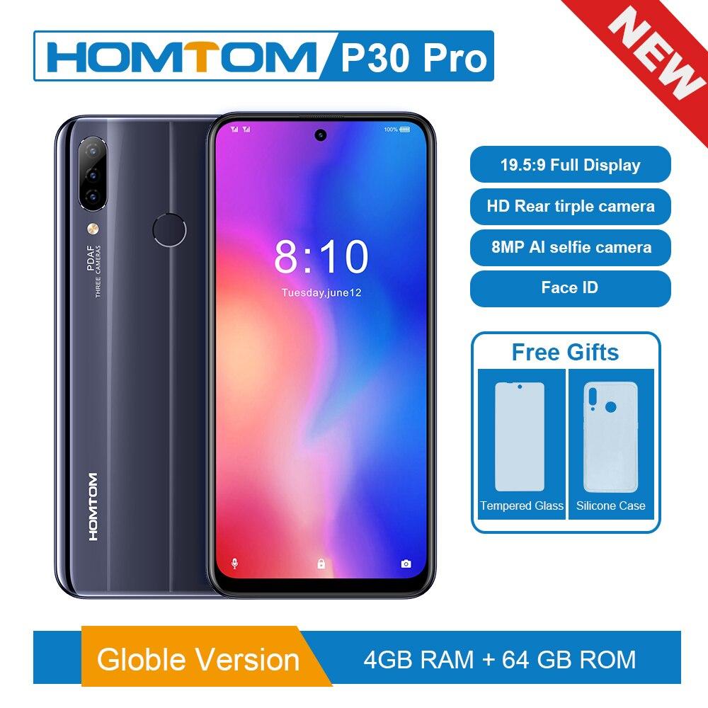 Original Version HOMTOM P30 Pro 6.41 Inch Android 9.0 Mobile Phone MT6763 Octa Core 4GB 64GB Rear 13MP Triple Cameras Smartphone