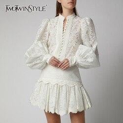 TWOTWINSTYLE выдалбливают комплект из двух предметов для женщин фонарь с длинными рукавами рубашки высокая талия юбки женский костюм осень мода ...