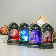 Dropshipping Halloween Decoration Luminous Tombstone Creative Night Light Bar Haunted House Secret Desktop