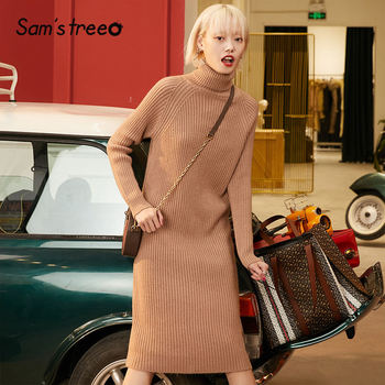 SAM'S TREE Multicolor Solid Minimalist Knit Pullover Sweater Dress Women 2020 Winter Pure Split Long Sleeve Soft Ladies Dresses 1