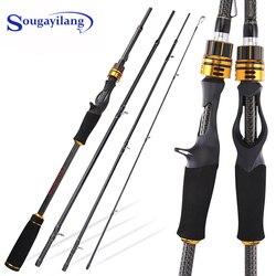 Sougayilang1.8m 2.1m 2.4m ML/M/MH Carbon Fiber Fishing Rod 4 Sections Travel Ultra Casting Rod 10g-30g Lure Rod Fishing Pole