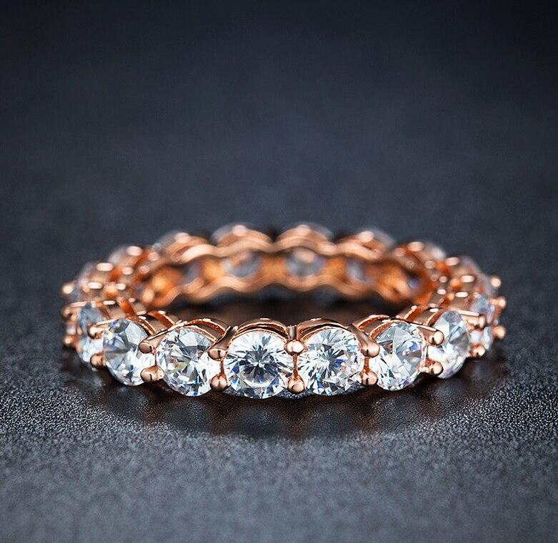 91% โปรโมชั่นใหญ่ Infinity ยี่ห้อใหม่เครื่องประดับ 925 เงินสเตอร์ลิง & Rose Gold Eternity แหวน 5A CZ แหวนเจ้าสาว