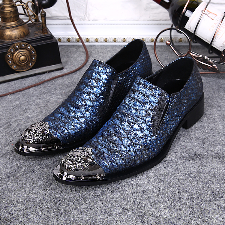 New Men's Designer Snake Pattern Men Formal Shoes Genuine Leather Wedding Dress Shoes Office Classic Business Oxford Shoe - 5