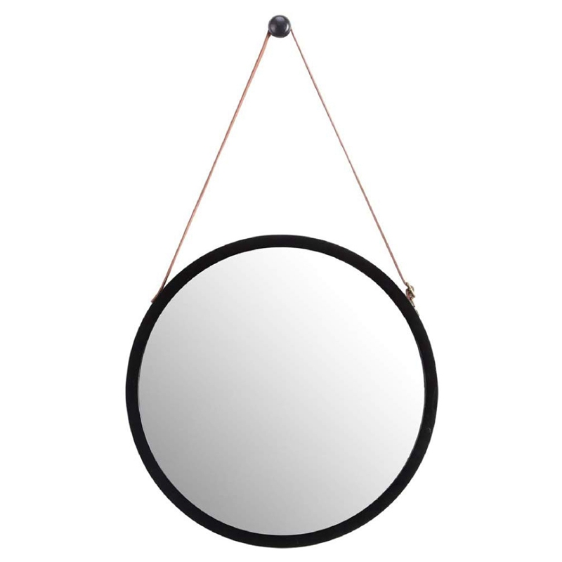 Hanging Round Wall Mirror in Bathroom & Bedroom   Solid Bamboo Frame & Adjustable Leather Strap (Black, 15 Inch)|Bath Mirrors|   - AliExpress