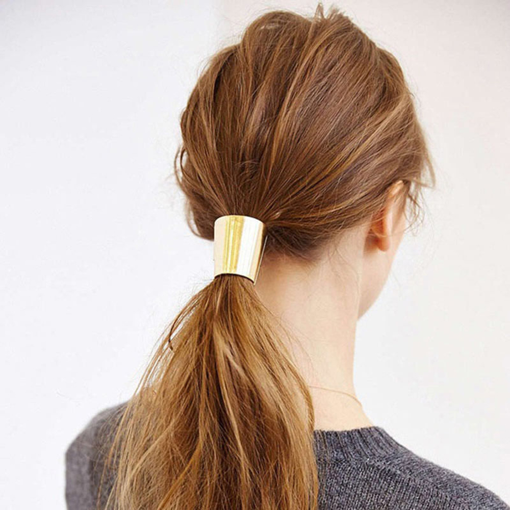 Creative 1pc Woman Girls Metal Elastic Ponytail Holder Hair Cuff Wrap Tie Band Ring Rope