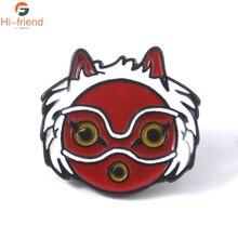 Princess Mononoke Hime Cartoon Mask Brooches Red Enamel Pins Lapel Creative Backpack Pin Badge Jewelry