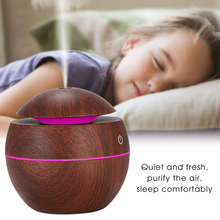 Aroma Diffuser Usb-Air-Humidifier Wood-Grain Electric Home for Office Led-Night-Light