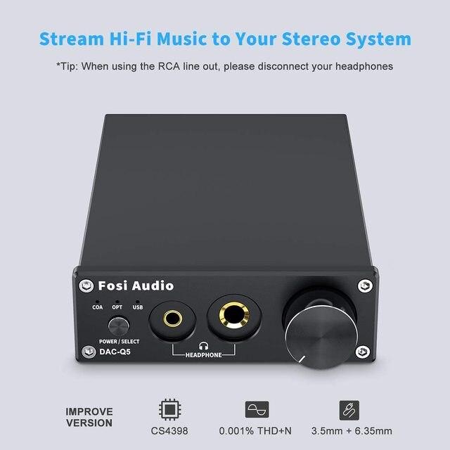 Усилитель мощности Fosi Audio Q5 DAC, для наушников, 400 мВт