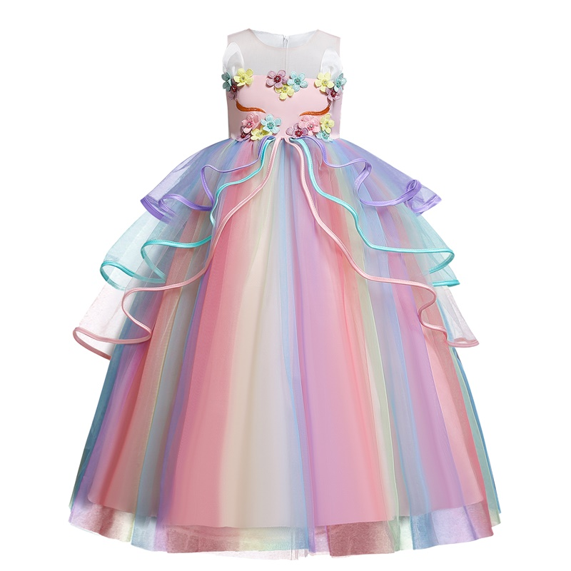 Rainbow Unicorn Cosplay Girl Dress Party Elegant Flower Lace Long Tutu Formal Ball Gown Princess Baby Dresses 5 7 8 12 14 Years 5