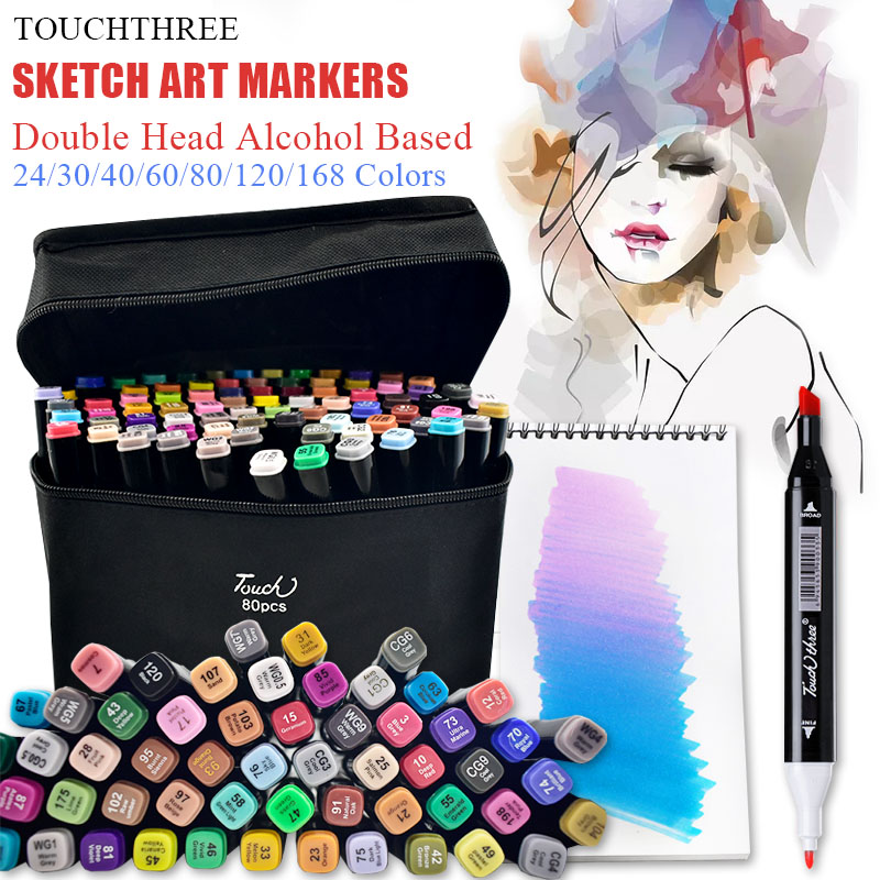 Pen Art-Markers-Set Art-Supplies Alcohol-Based Twin-Brush Felt-Tip Oily Touchthree 30/40/60-/..