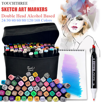 TouchThree Art Markers Set 30/40/60/80/168 Colors Drawing Markers Pen Alcohol Based Felt-Tip Oily Twin Brush Pen Art Supplies