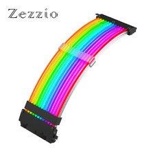 Zezzio кабель питания с рукавами 24pin atx rgb 5В 3pin Адресуемая
