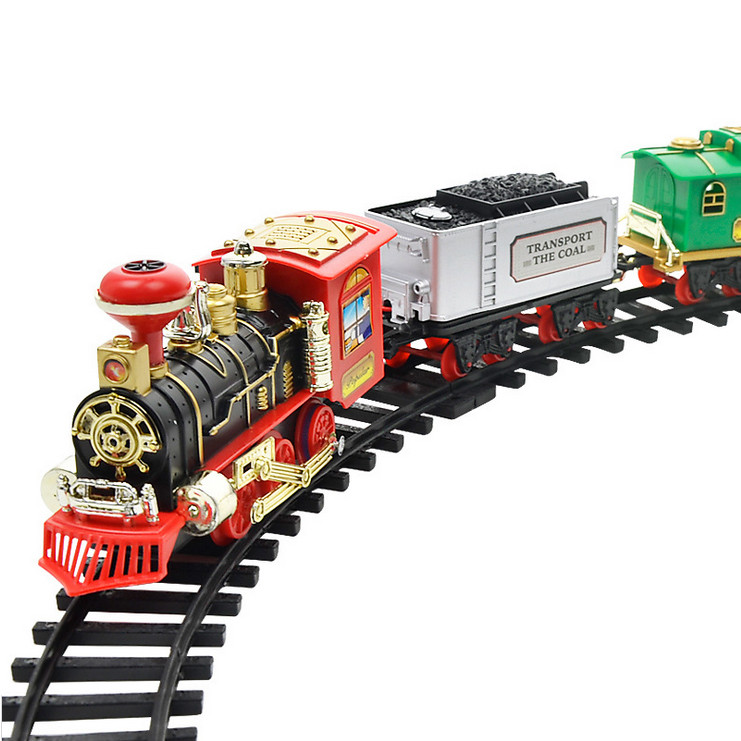 Remote Control Conveyance Car Electric Steam Smoke RC Train Set Model Toy Gift