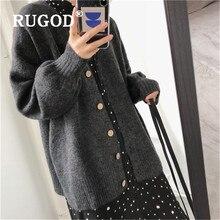 RUGOD ceñido Vintage punto Cardigan mujeres cuello en V suave cómodo suéteres mujeres Kpop ropa