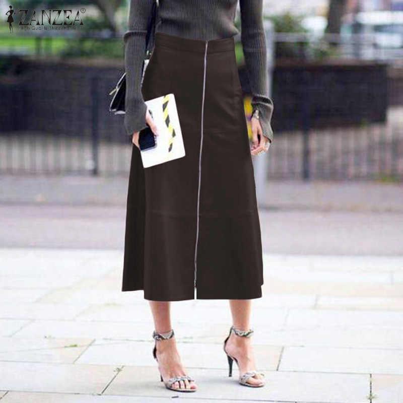 Mode femmes PU Jupe en cuir ZANZEA décontracté taille haute a-ligne jupes élégantes dames travail OL solide Vestido Jupe à glissière