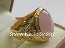 ++++ Free Shipping Beautiful Light Pink Grain shape Jade Men's Gift Jewelry Ring 13X18MM Bead(China)