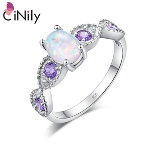 CiNily White Fire Opal Amethys