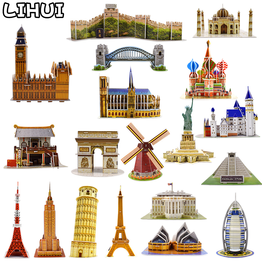 Kids Toys Cardboard 3D Paper Building Puzzle Model Toys World Souvenir White House Eiffel Tower Gifts For Children DIY Education