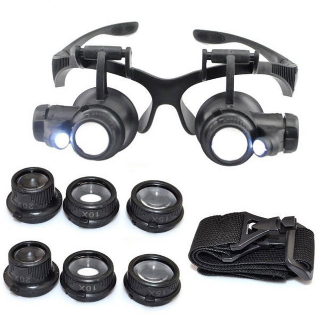 8 Lens Magnifier Magnifying Eye Glass Loupe Jeweler Watch Repair with LED Light TUE88 1