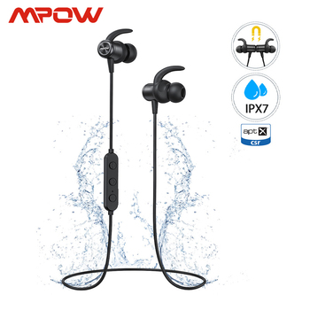 Mpow S11 ipx7 Waterproof APTX Earphones Bluetooth 5.0 Sports Earbuds Magnetic Desgin 9H Playing For iPhone Samsung Huawei Xiaomi