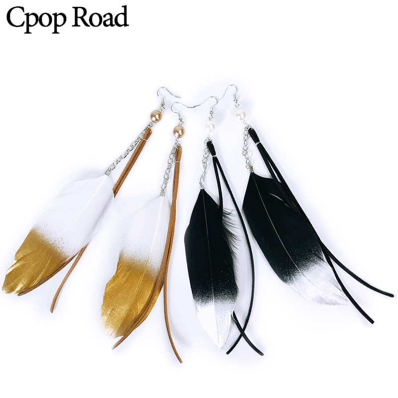 Cpop Boho Fashion Brush Gold Silver Feather Earrings Long Leather Statement Jewelry Women Accessories Gift 2019