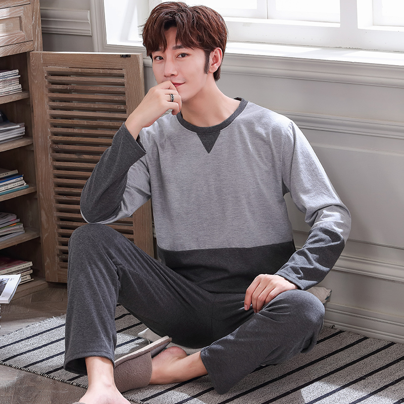 Men's Pajama Sets Autumn Man Pajamas Set Simple Sleepwear Long Sleeve Pure Cotton Pajamas For Men Plus Size 4XL Leisure Outwear
