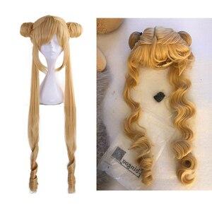 Ebingoo Сейлор Мун двойной хвост длинный прямой блонд лимон желтый Синтетический Косплей парик для Хэллоуина Костюм Вечерние